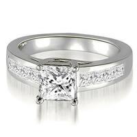 1.50 cttw. 14K White Gold Trellis Princess Cut Diamond Engagement Ring