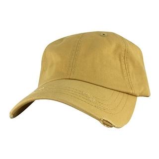 959 Series Curve Visor Cotton Unstructured Vintage Frayed Strapback Hat Cap - Gold