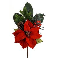 """Club Pack of 12 Red and Green Artificial Pine/Poinsettia Indoor Picks with Berries 19"""""""