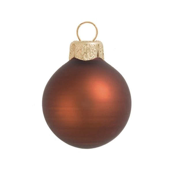 "8ct Matte Chocolate Brown Glass Ball Christmas Ornaments 3.25"" (80mm)"