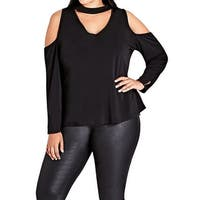 City Chic Women's XS Plus Cold-Shoulder V-Neck Blouse