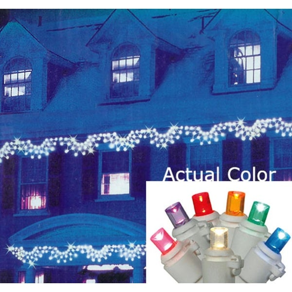 Set of 150 Multi-Color LED Wide Angle Swag Christmas Lights - White Wire - multi