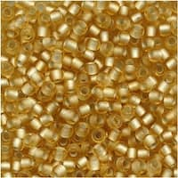 Toho Round Seed Beads 11/0 22F 'Silver Lined Frosted Lt Topaz' 8 Gram Tube