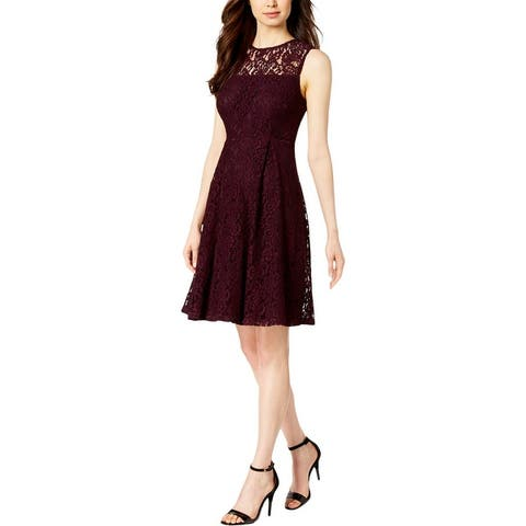 Calvin Klein Womens Scuba Dress Lace Sleeveless