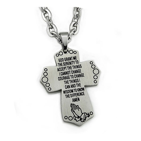 Stainless Steel Men's Cross Pendant - 22 inches