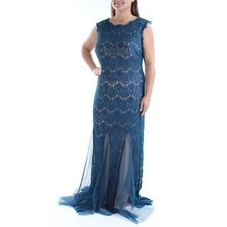 Womens Blue Sleeveless Full Length Formal Dress Size: 14W