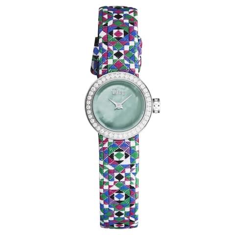 Christian dior women's cd040110a027 'la d de dior mini' green dial diamond bezel multi color woven strap swiss quartz watch