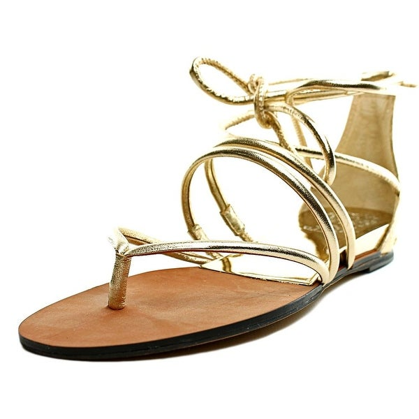 Vince Camuto Adalson Women Open Toe Leather Gold Gladiator Sandal
