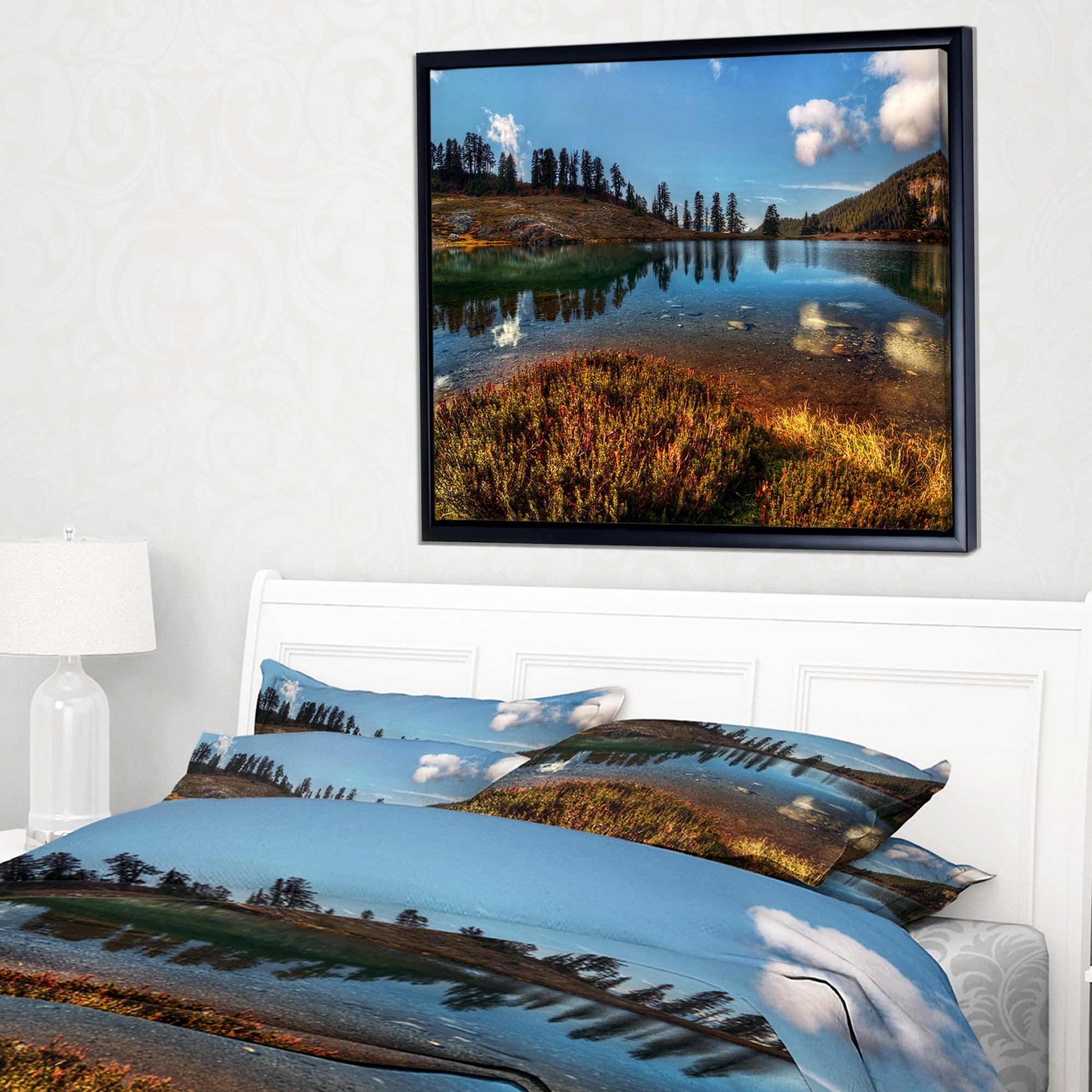 Designart Calm Mountain Lake And Clear Sky Landscape Framed Canvas Art Print Overstock 18959379