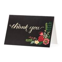 """Club Pack of 48 Black, Red and Green Floral """"Thank You"""" Stationary Cards 6"""" - Black"""