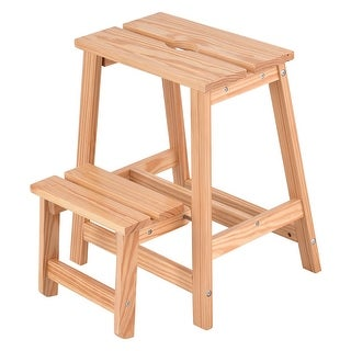 Costway 2 Tier Solid Wood Step Stool Folding Ladder Bench Seat Kitchen Chair Furniture