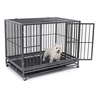 "Fur Family 48"" Dog Crate Kennel - Heavy Duty Pet Cage Playpen with Tray Pan & Wheel, Silver"