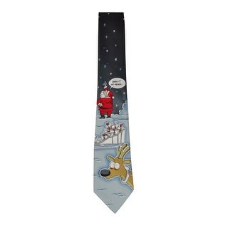 John Ashford Men's 'No Signal' Santa Satin Tie (OS, Black/Red) - Black/Red - os