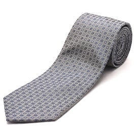 Luciano Barbera Men's Slim Silk Neck Tie Navy Silver