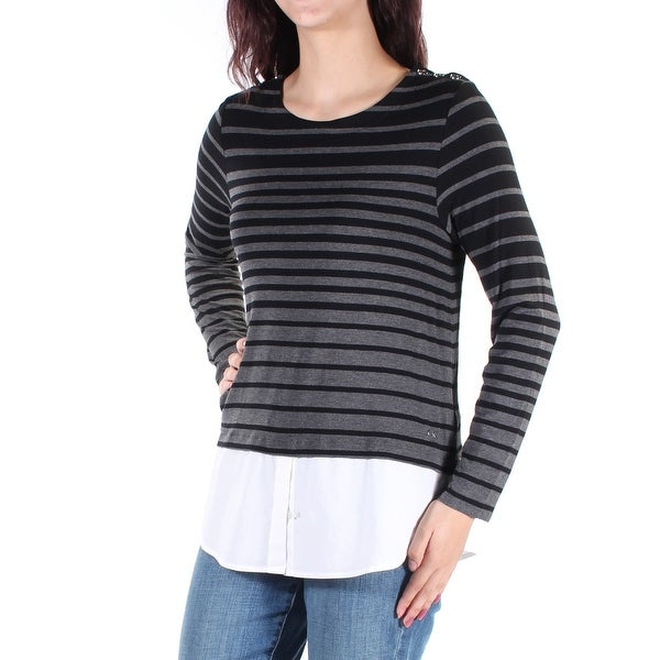 5b6a2637772d Shop Womens Black Long Sleeve Scoop Neck Top Size M - On Sale - Free  Shipping On Orders Over $45 - Overstock.com - 22422262