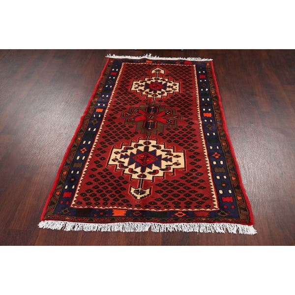 Geometric Hamedan Persian Wool Red Area Rug Hand Knotted Carpet 3 2 X 5 0 On Sale Overstock 31718289