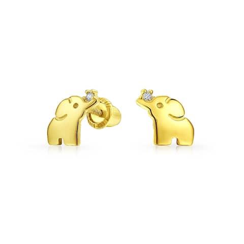 Minimalist Lucky Elephant Stud Earrings Real 14K Yellow Gold Screwback