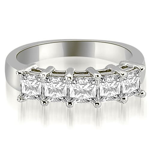 2.50 cttw. 14K White Gold Princess Diamond 5-Stone Prong Wedding Band