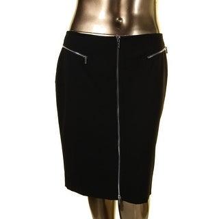Calvin Klein Womens Mini Skirt Front Zip Signature