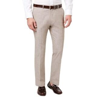 Tasso Elba Khaki Chambray Linen Flat Front Casual Pants 32 x 30