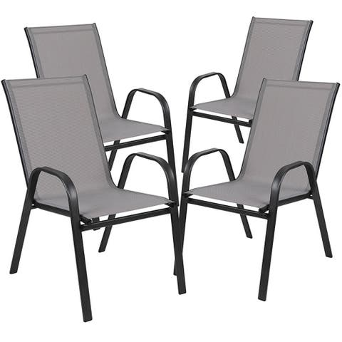 Offex 4 Pack Gray Outdoor Stack Chair with Flex Comfort Material and Metal Frame