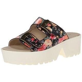 C Label Womens Textured Floral Print Platform Sandals - 10 medium (b,m)