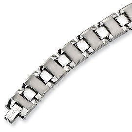 Chisel Brushed and Polished Stainless Steel Bracelet - 8.75 Inches