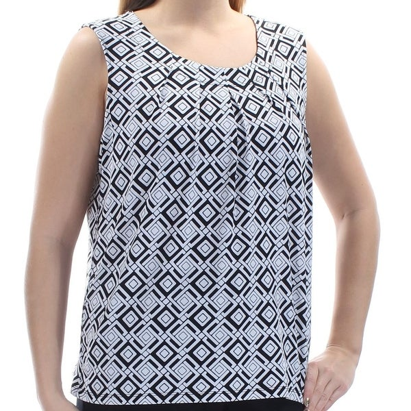 cf032443d32a Shop Kasper Womens Small Geo-Pattern Pleated-Neck Blouse - Free Shipping On  Orders Over  45 - Overstock - 21694945
