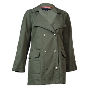 Tommy Hilfiger Women's Double-Breasted Utility Jacket (M, Dusty Olive)