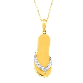 Flip-Flop Pendant with Diamonds in 10K Gold