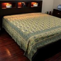 Elephant Block Print Batik Floral Tapestry Wall Hanging Bedspread Beach Sheet Dorm Decor Cotton Green - Twin, Full