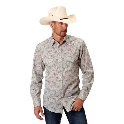 Roper Western Shirt Mens L/S Floral Gray