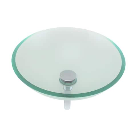 Renovators Supply Clear Tempered Glass Vessel Sink Round with Drain