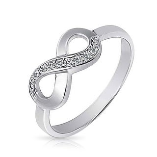 Bling Jewelry Half Pave Cubic Zirconia Infinity Promise Ring 925 Silver