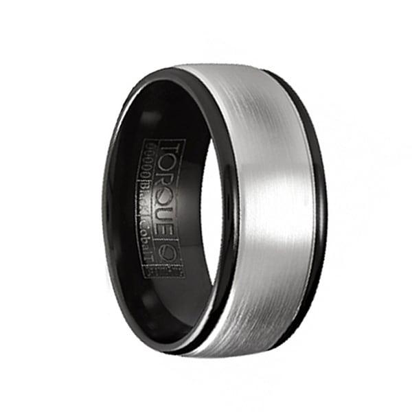 MENETHIL Torque Black Cobalt Brushed Wedding Band Round Edges with Black Inside by Crown Ring - 7 mm