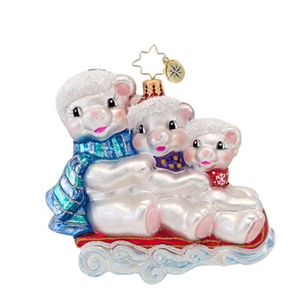 Christopher Radko Glass Iceberg Dash Bears on Sled Christmas Ornament #1016734