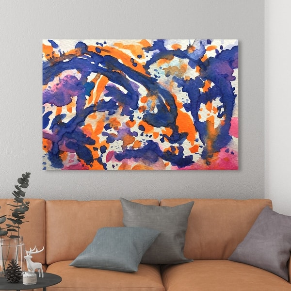 Oliver Gal Purple And Yellow Vibes Abstract Wall Art Canvas Print Paint Blue Orange Overstock 31290811