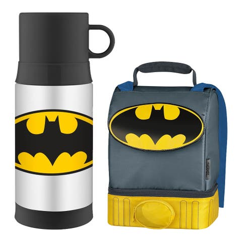Thermos Funtainer 12Oz Beverage Bottle w/ Dual Compartment Lunch Kit - Batman