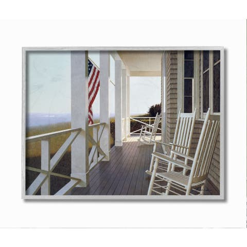 Stupell Industries Americana Rocking Chair Cape Porch Realistic Painting Framed Wall Art - Multi-Color