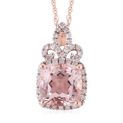 Rose Gold Morganite White Diamond Pendant Necklace Ct 2.7 H Color I3