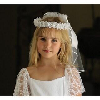 Angels Garment Girls White Satin Cord Floral Wreath Communion Flower Girl Veil