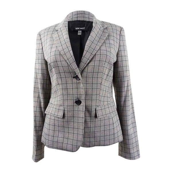Nine West Women's Two-Button Plaid Jacket - Cinnmon/Black Mult. Opens flyout.