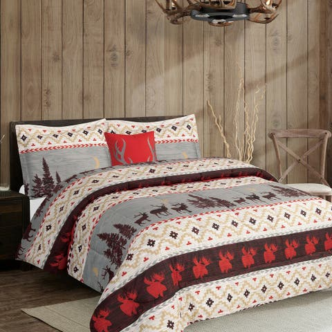 Rustic Mountain Quilt Bed in a Bag Set Queen