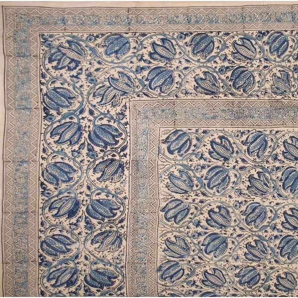 Handmade Cotton Vegetable Dye Block Print Tapestry Bedspread Tablecloth F/Q Blue Green Red