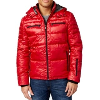 Calvin Klein NEW Real Red Mens Size 2XL Hooded Full-Zip Puffer Jacket
