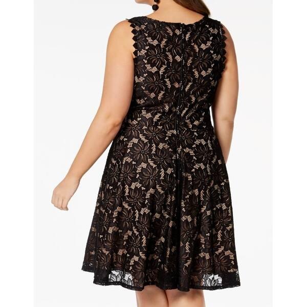 City Studio Black Womens Size 18 Plus Floral Lace A Line Dress