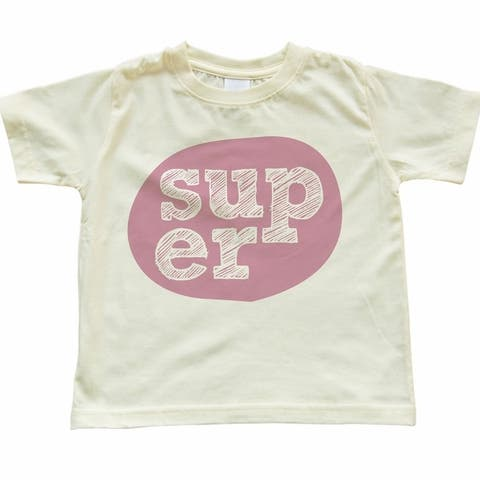 "Pink ""Super"" Design On Soft Yellow Toddler T-Shirt"