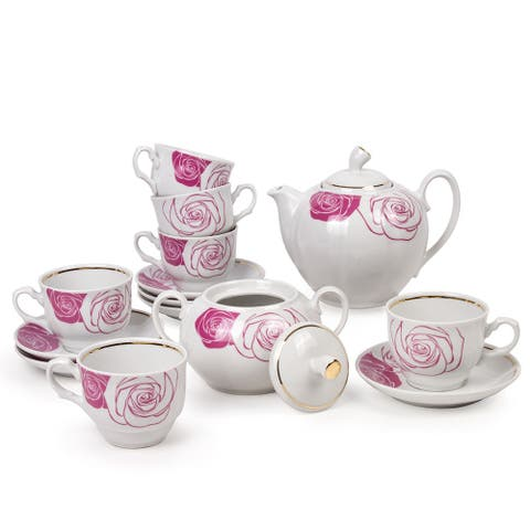STP-Goods Mon Amour 14-Pc Gold Plated Porcelain Tea Set for 6