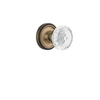 "Nostalgic Warehouse CLACME_PRV_234_NK  Vintage Crystal Meadows Privacy Door Knob Set with Classic Rose and 2-3/4"" Backset"