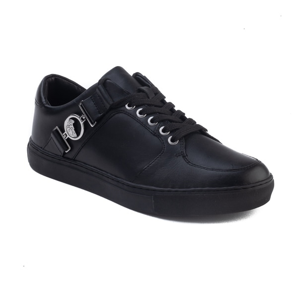 5b6cfa98629fb Versace Collection Men  x27 s Leather Medusa Logo Low Top Sneaker Shoes  Black